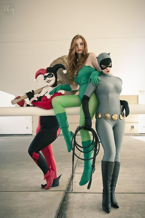 Harley Quinn, Poison Ivy, Catwoman Cosplay :: Batman Animated Style