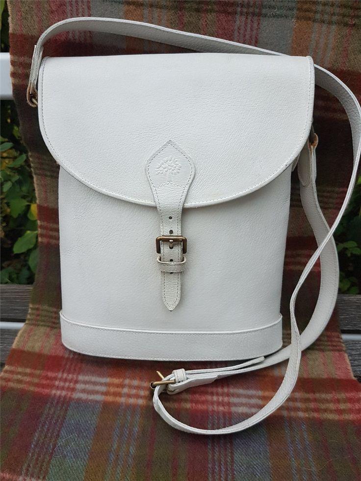 Mulberry Vintage Winter White Binocular Bag. 26x28 cm. 1980-ish