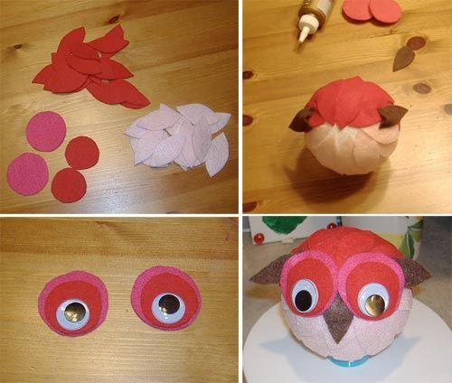 Material: 4 bolas de isopor  25 milímetros olhos arregalados Feltro (3 cores qualquer cor e um feltro marrom para o bico e as orelhas)  col...