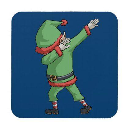 Dab Santa Elf Funny Novelty Christmas Gift Items Beverage Coaster - cyo diy customize unique design gift idea