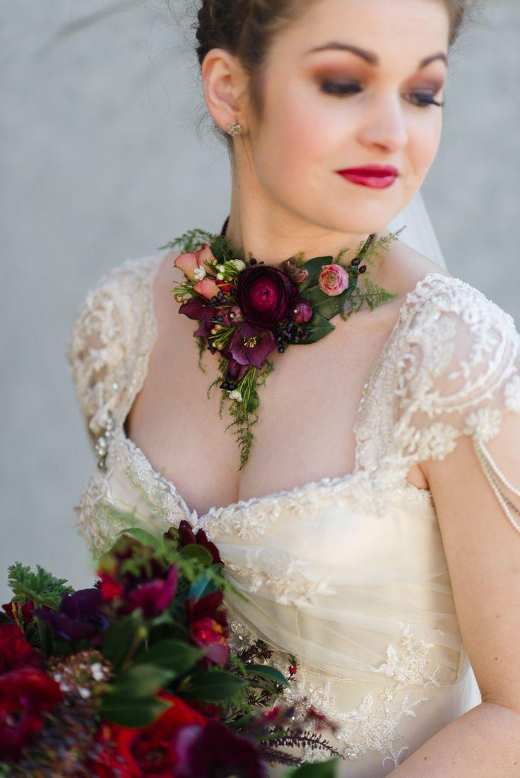 Fresh flower necklace from Chic Vintage Brides! An Urban Secret Garden – Stunning Autumn Wedding Inspiration