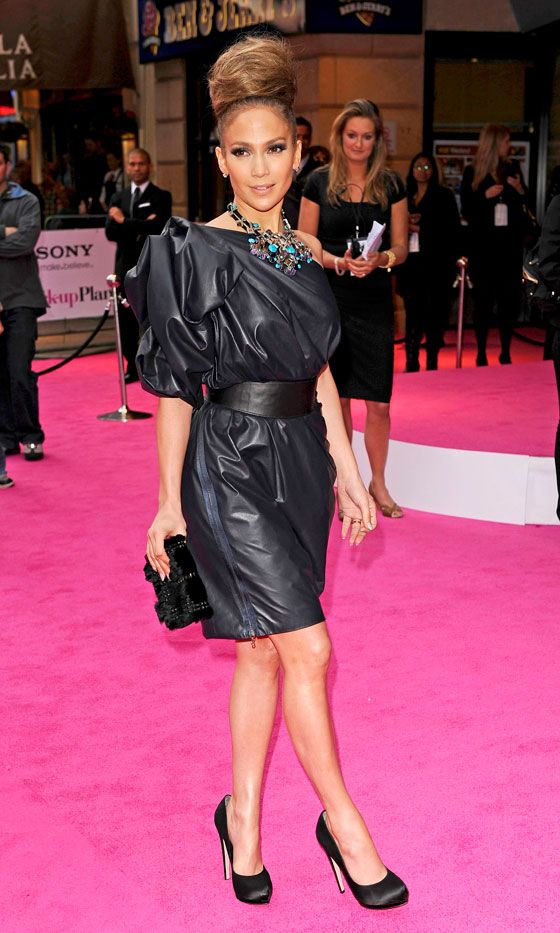 Jennifer Lopez Rocks The Ultimate Topknot Hairstyle And Lanvin Dress At The Back-Up Plan Film Premiere, 2010