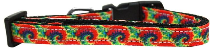 Tie Dye Nylon Ribbon Dog Collar Sm