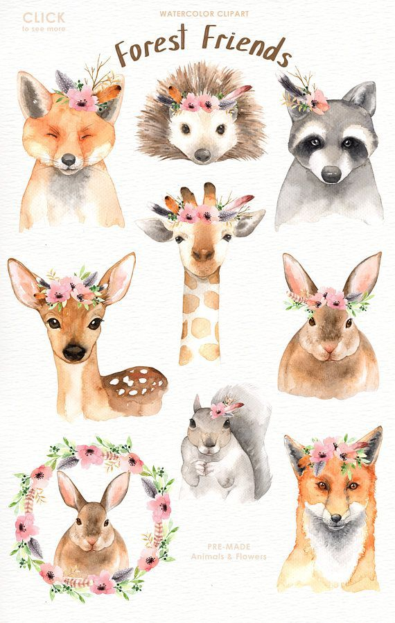 Forest Friends Watercolor Clip Art, Forest Animals, Kids Clipart, Boho Clipart, Nursery Decor, Animal with Floral Crown, Deer Bunny Giraffe