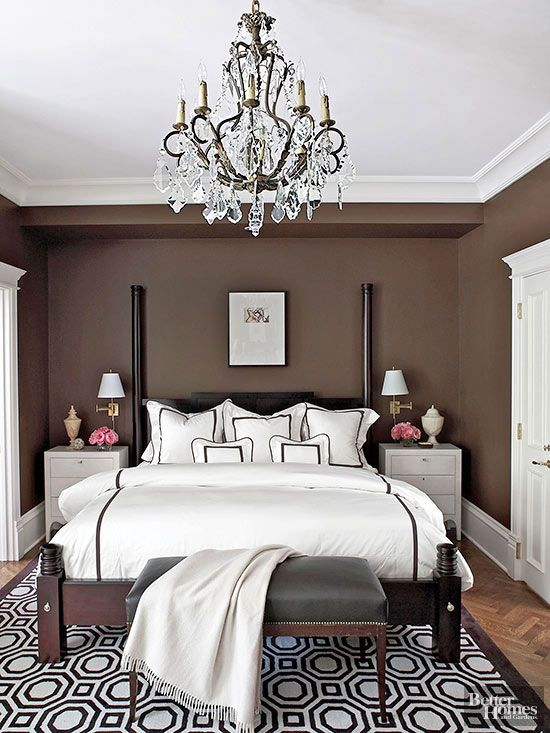 I like the dark chocolate walls. ..wouldn't have thought of that for a bedroom.