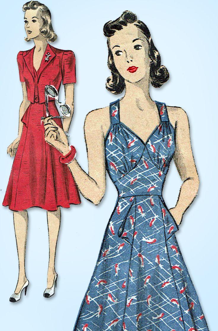 1940s Vintage Du Barry Sewing Pattern 2472 Misses WWII Sun Dress Size 12 30 Bust