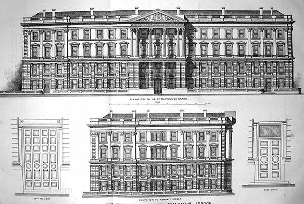 Architect: James Williams The headquarters for the General Post Office was built on the eastern side of St. Martin's Le Grand in the City of London between