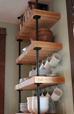 This is how to get level, open, wooden shelves. Purchase IKEA butcher block, and cut it to size for the shelves.