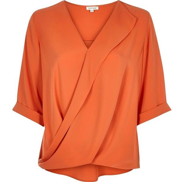 River Island Orange frill wrap blouse ($46) ❤ liked on Polyvore featuring tops, blouses, orange, shirts, short sleeve shirts, ruffled shirts blouses, ruffle shirt, short sleeve blouse and v neck shirts