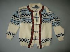 KAARE GIOSE NORDIC CARDIGAN SWEATER PEWTER BUTTONS BLUE SNOWFLAKES MEDIUM LARGE