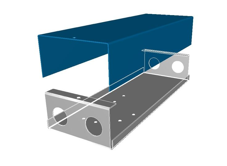 3D model of a sheet metal box and cover used to enclosure electrical gear.  Model created with the help of Radan sheet metal software http://www.vandf.co.uk/software/radan-software/
