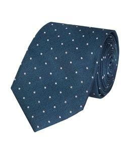 Schmale Krawatte aus edler Seide – petrol mit weißen Punkten