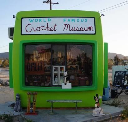 An old California photo mat has been turned into a shrine to the cozy art of crochet