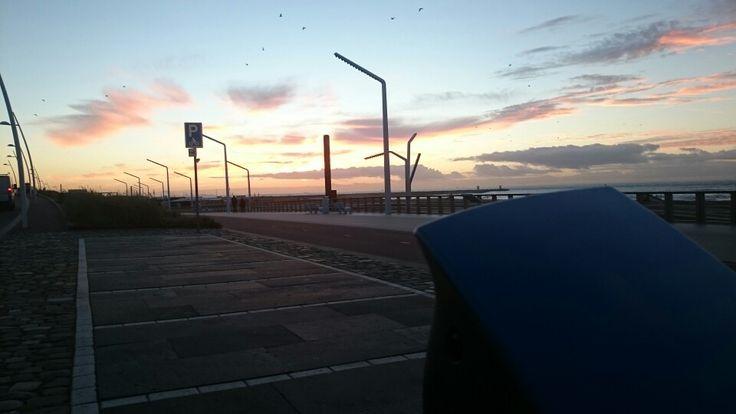 Scheveningen boulevard, zonsondergang