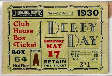 Great graphic - Derby Tickets via Expresh Letters Blog: Kentucky Derby Ticket Design 1930's - 1950's