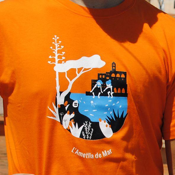 Samarretes serigrafiades, tèxtil. Camisetas serigrafiadas. Illustration and textile support, colours contrast. L'Ametlla de Mar
