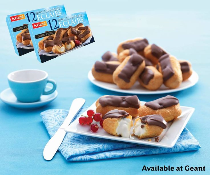 Enjoy and have fun with easy & sweet taste 12 Mini Chocolate Eclairs from Iceland. Great as finger foods or light dessert! This product will cost you only AED 11.50 per box so go on treat yourself! Available at Geant