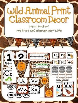 Zoo Animal Print Classroom Decor Pack
