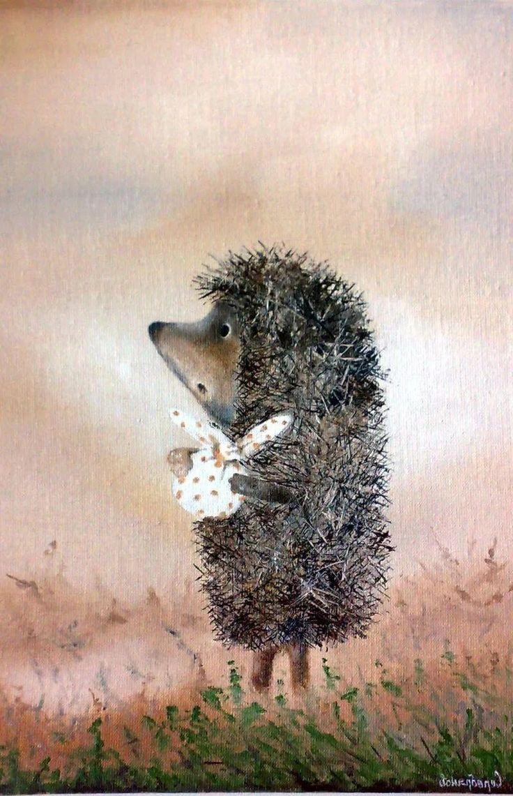 Картинки для декупажа ежик в тумане день дети