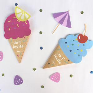 Envoyez de jolis cartons d'invitation en forme de glace pour l'anniversaire de votre enfant. Un DIY très facile avec nos gabarits à télécharger gratuitement