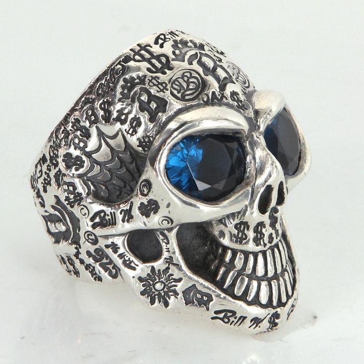 Bill Wall Graffiti Master Skull Ring Silver Blue Stone BWL Sun B Crown Dollar 12
