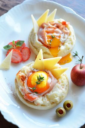 5分でぱぱっと朝ごぱん。 ポテサラハムチーズたまごのマフィン|レシピブログ