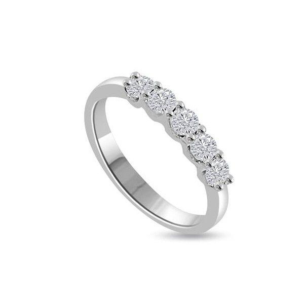 MEZZA VERETTA ANELLO 18CT ORO BIANCO | Veretta. I 5 Diamanti Taglio Brillante hanno un peso totale e` disponibile da 0.50ct a 1.0ct. Il peso dei carati per ciascun diamante varia da 0.10ct a 0.20ct. I Diamanti sono montati in Griffe. Tutti i diamanti sono disponibili in I, H, G ed F colore e in VS1 ed SI1 purezza. La fascia e` 2.3mm. Questo anello e` accompagnato dal certificato del diamante.