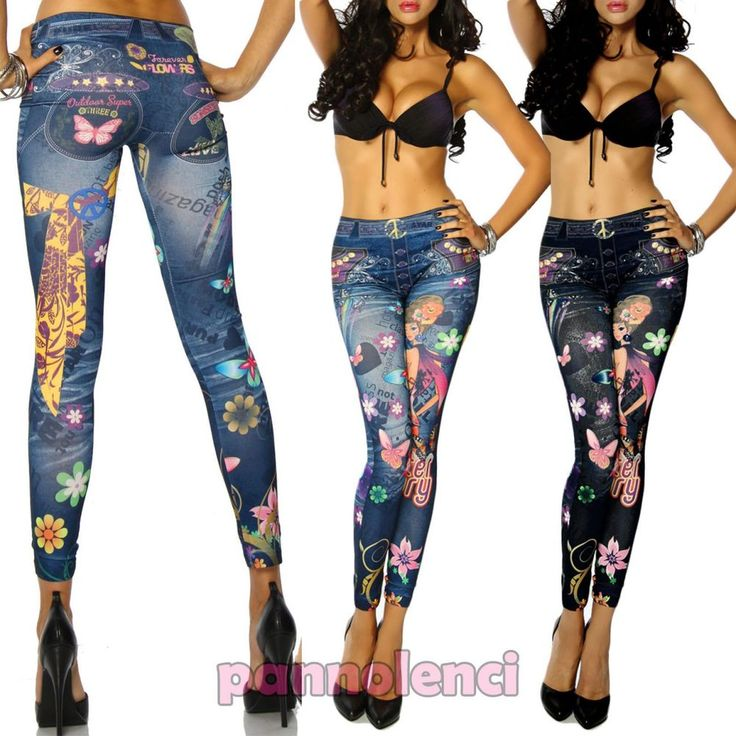 Leggings pantaloni effetto jeans leggins pantacollant donna tatuaggio DL-299
