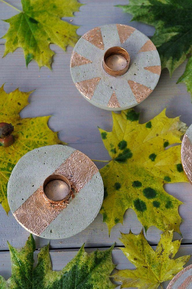 Smillas Wohngefühl: DIY: Kerzenständer aus Beton mit Kupfer, die Farben des Herbstes!