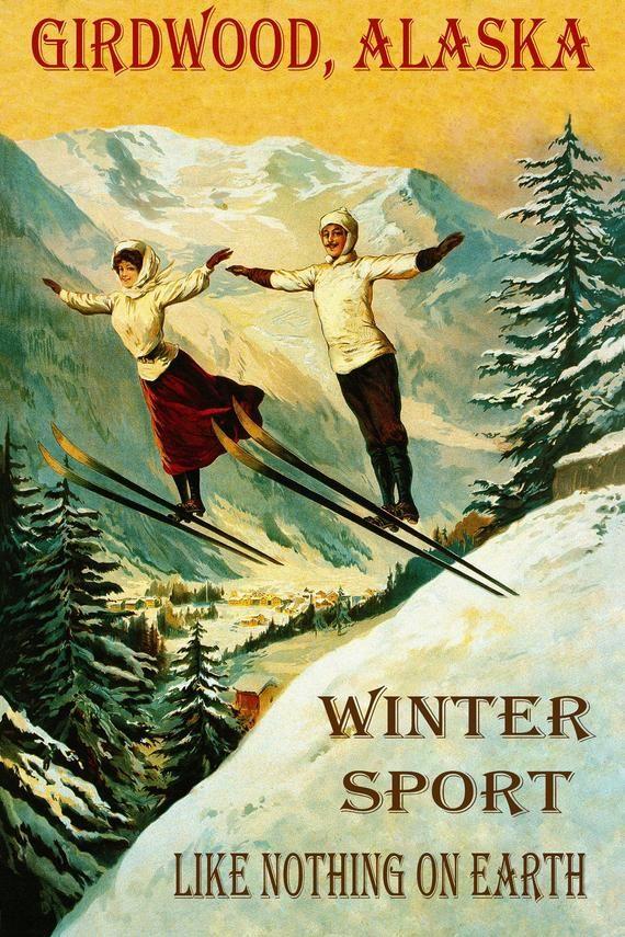 Ski Skiing Aspen Colorado Vintage Blonde Lady Sports Poster Repro FREE S//H
