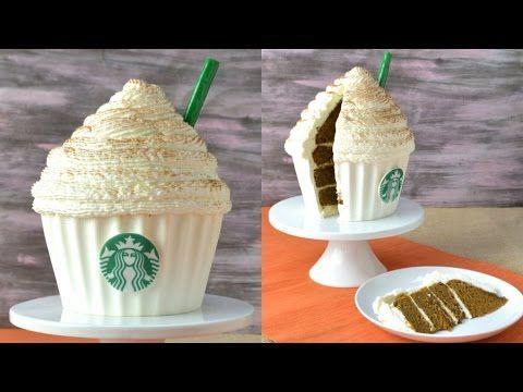 Starbucks Pumpkin Spice Latte Cupcake Cake   Starbucks Cake | How to make Starbucks Cake| Cake Decorating | Giant Cupcake Cake |