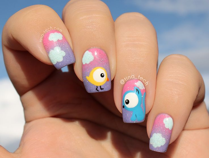 Cute Bird and Cat Nail Art by tina-tech.com