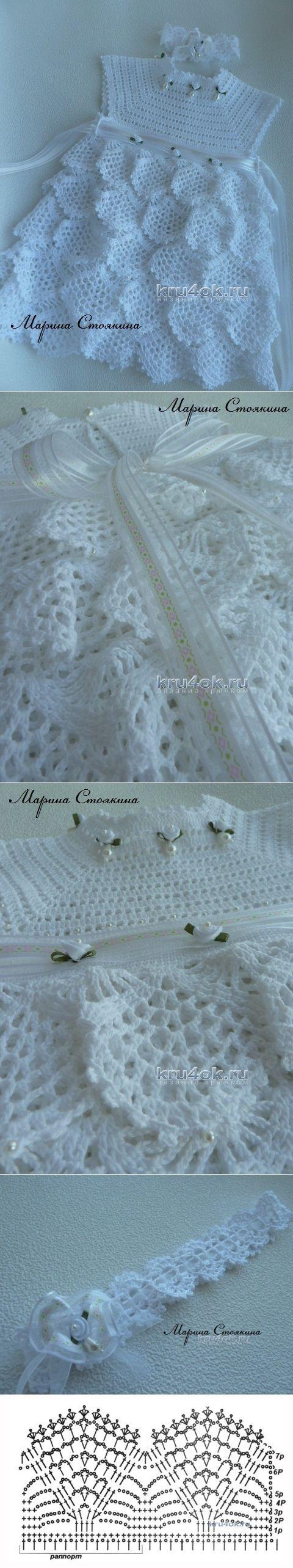 Платье для девочки — работа Марины Стоякиной - вязание крючком на kru4ok.ru | вяжем детям | Постила