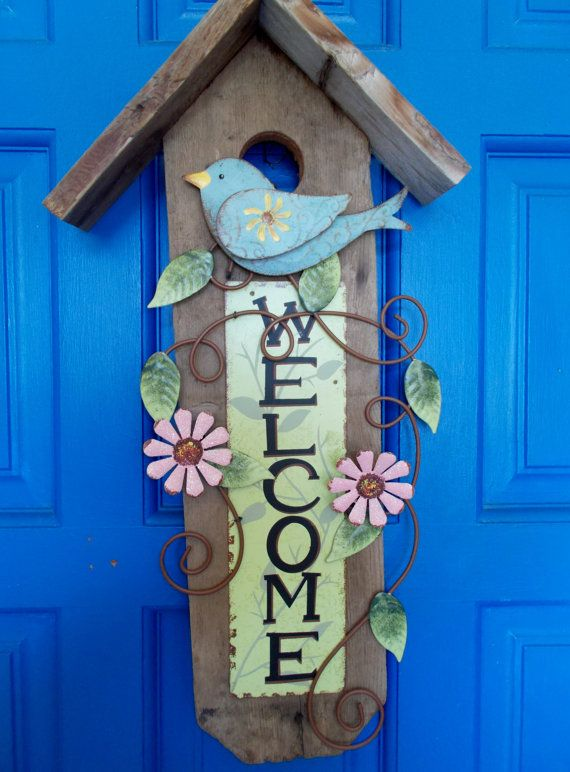 Wall Hanging Birdhouse Welcome Sign Garden Plaque