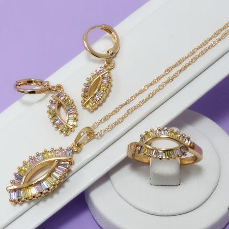 Набор: кольцо, серьги, кулон на цепочке с фианитами - Наборы украшений - Irvo Classic - 016-0124