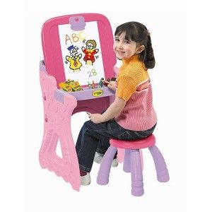 Toys For 2 yr Old Girls: Crayola Play 'N Fold Art Studio Converts from desk to easel. Elevated storage for art materials. Comes with sitting stool.  http://bit.ly/1K0j0FI