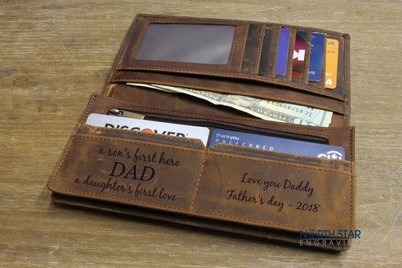 Fathers day gift, Mens Personalized Leather Wallet, Engraved