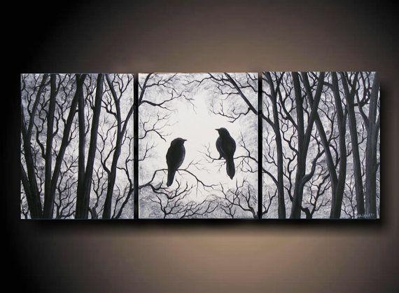 3 Piece set Wall Art Birds on Tree Three 24 x 10 by ArtbySimplyMe, $95.00