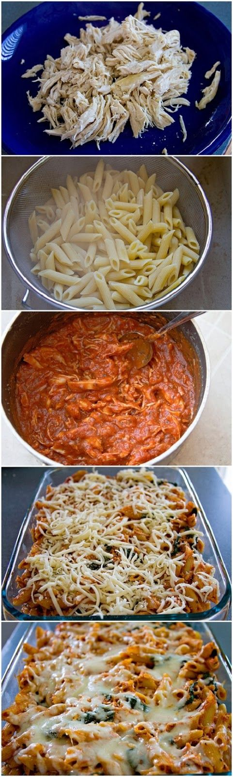 Ingredients:  1 (16 oz) box regular or whole wheat penne pasta  2 chicken breasts  6 ounces fresh baby spinach leaves  1 tsp basil  1 tsp ...