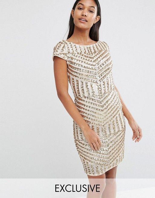 TFNC | TFNC Cap Sleeve Midi Dress In Patterned Sequin