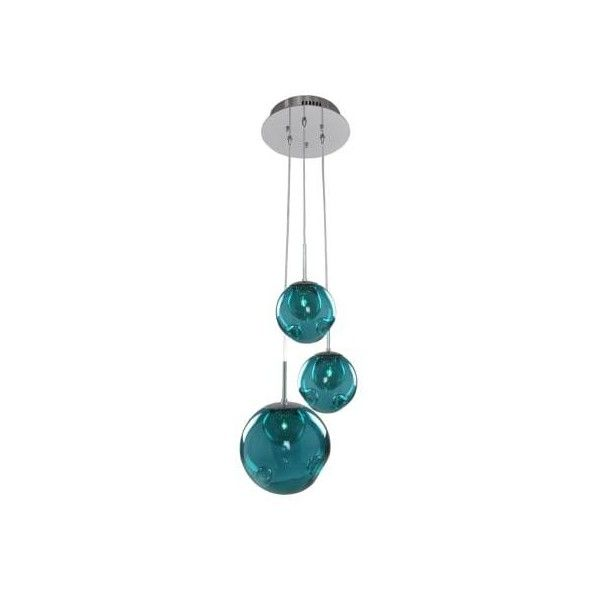 Kalco 309540 Meteor 3 Light Pendant Chrome / Aqua Shade Indoor ($628) ❤ liked on Polyvore featuring home, lighting, ceiling lights, indoor lighting, pendants, halogen ceiling lights, halogen lamp, xenon lamp, aqua shade and chrome ceiling lights