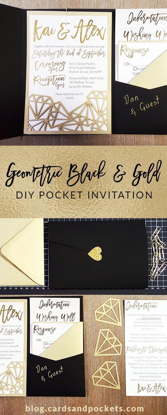 how to mail scroll wedding invitations%0A Loving this bride u    s DIY laser cut wedding invitation  Modern geometric  designs  black and gold