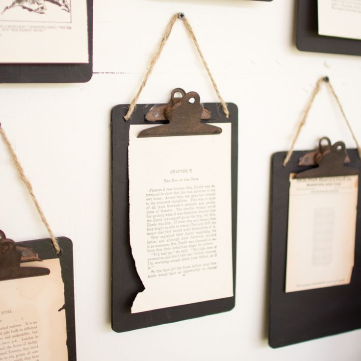 Add a vintage industrial touch to any room with these mini clipboards featuring a black finish, rusty clips, and a jute hanger. These clipboards look beautiful holding everything from household notes to vintage photos and the boards can display messages w