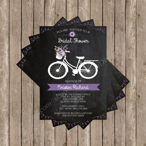 Floral Bicycle Bridal Shower Invitation Printable - Chalkboard Style Bridal Shower - Digital File