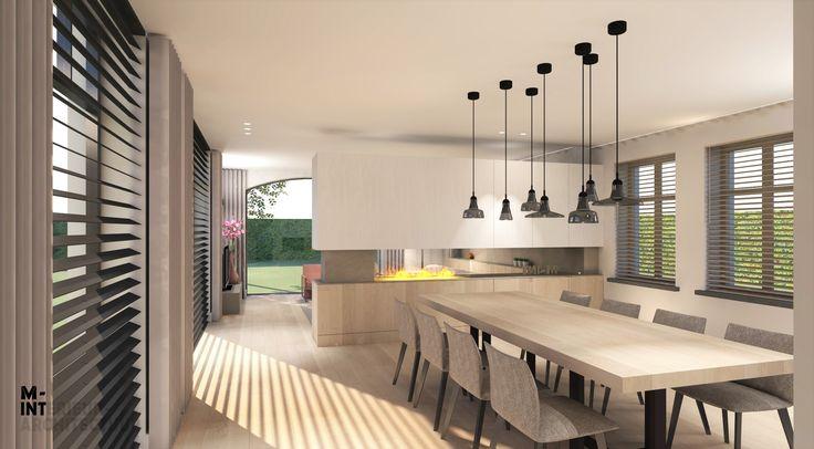 Ontwerp van een kast met haard die de te grote ruimte (woonkamer en eetkamer) op een luchtige manier in 2 deelt. Zicht vanuit de eetkamer. Door M-INT interieurarchitectuur.