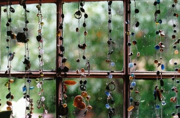 string beads on the window
