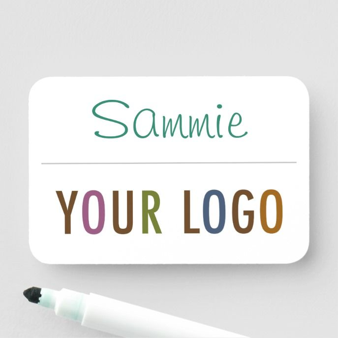 Dry Erase Name Tag with Logo Pin Back or Magnetic | Zazzle