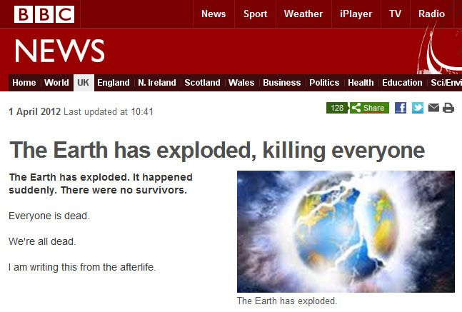 Earth exploded today...