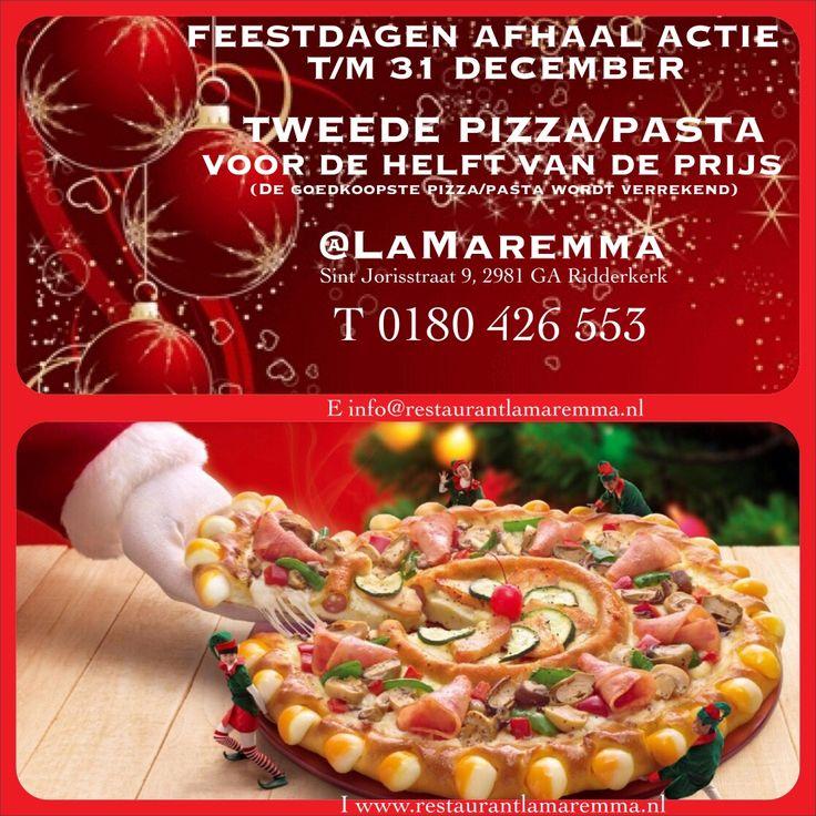 Vergeet niet te profiteren van onze 'Feestdagen Afhaalactie'! T/m 31 december 2e pizza/2e pasta voor de helft van de prijs. Lekker en gemakkelijk als je moet overwerken tijdens de aankomende feestmaand of druk bent met Sinterklaas e/o Kerst inkopen.