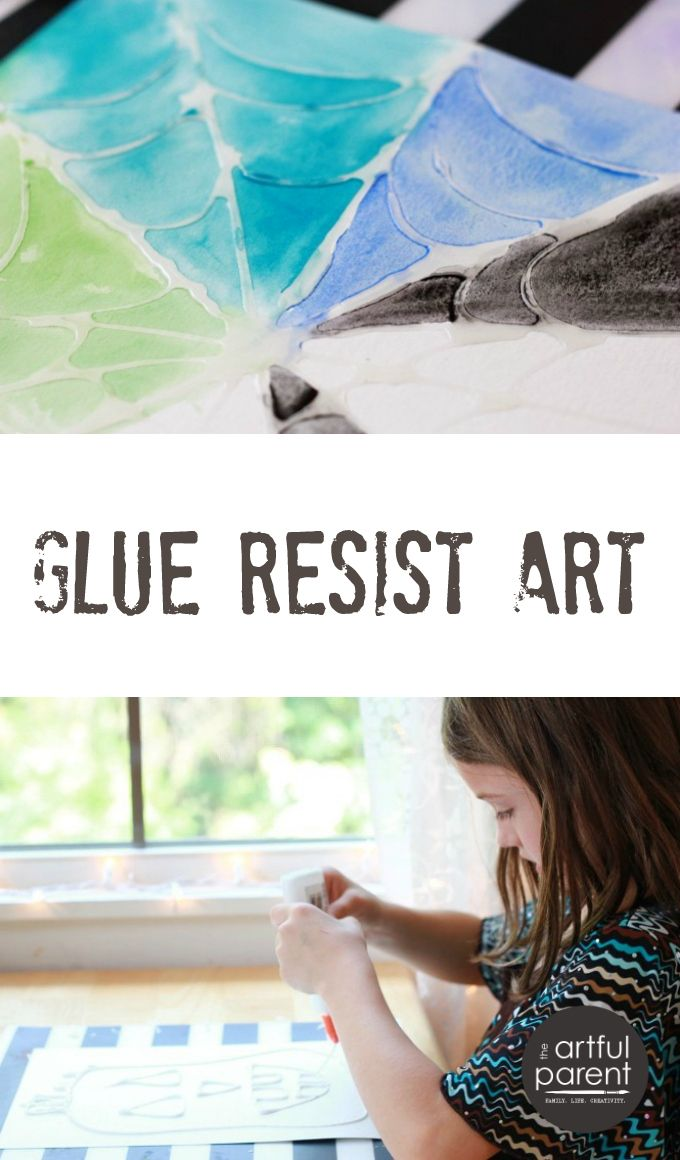 Halloween kids art activity with glue resist -- Awesome for making spiderwebs, jack-o-lanterns, leaves, faces, and more!